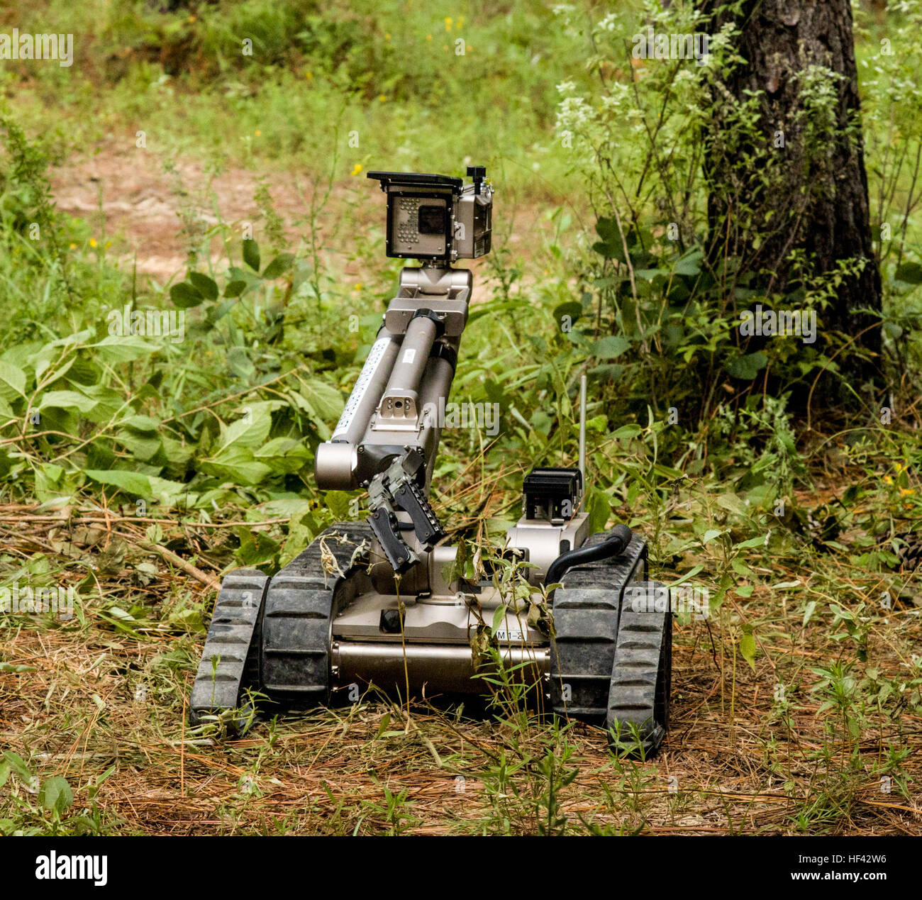 An Explosive Ordnance Disposal (EOD) robot lifts its camera to view where it is going and what might lie ahead during Stock Photo