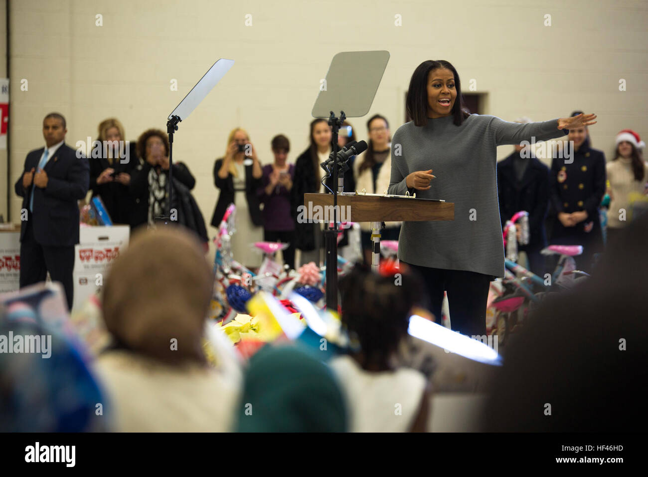 First Lady Michelle Obama gives a speech about the importance of everyone's hard work and the Toys for Tots program Stock Photo
