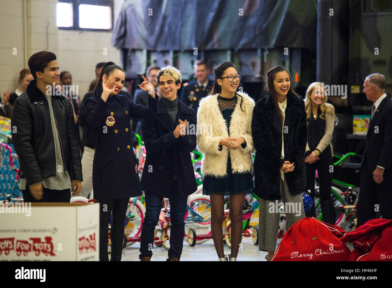 Disney stars make an appearance at a Toys for Tots event at Joint Base Anacostia-Bolling, Washington D.C., Dec. Stock Photo