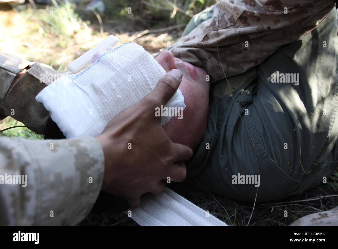 Marines with Company B, 3rd Light Armored Reconnaissance Battalion, provide immediate medical attention to a downed - Stock Image