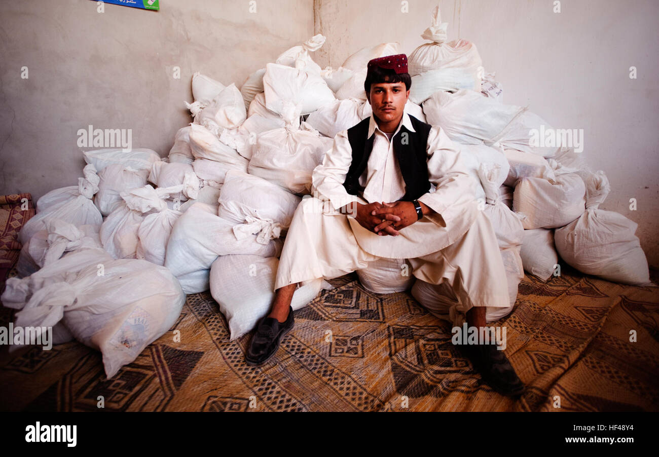 PATROL BASE JAKER, Helmand province, Islamic Republic of Afghanistan — Hayatullah, one of the Nawa District governor's - Stock Image