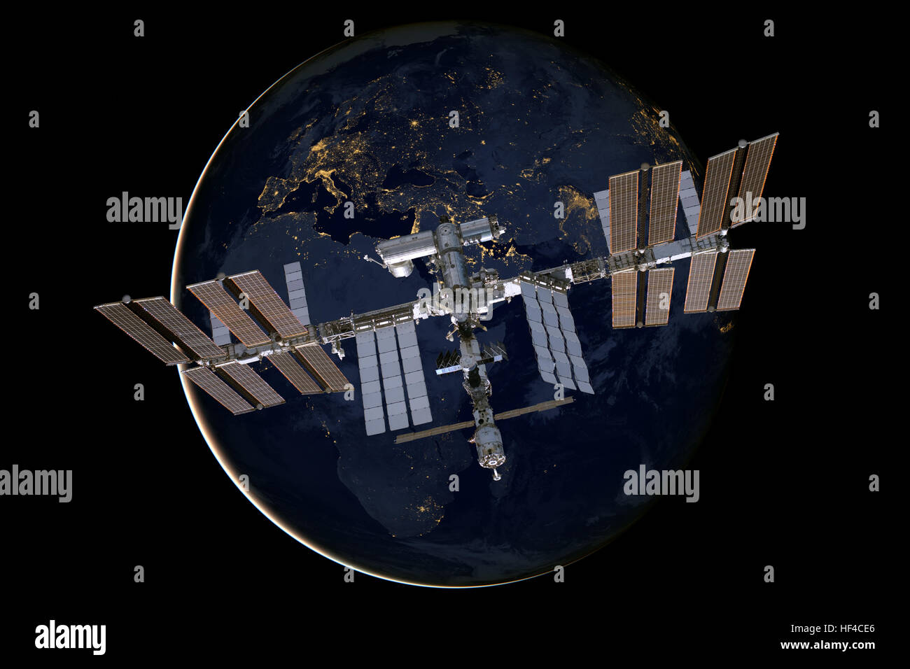 International Space Station over the planet Earth. - Stock Image