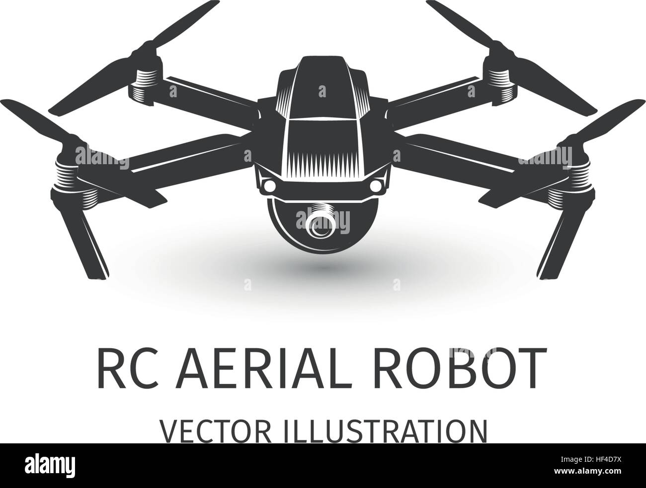 Isolated rc drone logo on white. UAV technology logotype. Unmanned aerial vehicle icon. Remote control device sign. - Stock Image