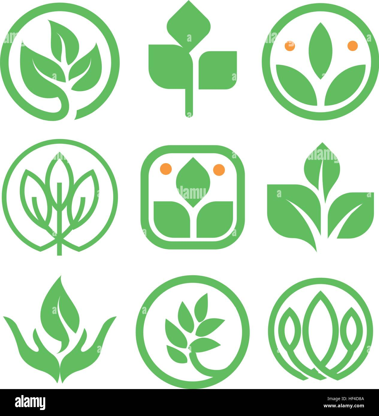 Isolated abstract green color logo collection round shape nature round shape nature element logotype set leaf in human hand icon agricultural organic products signs healing herbs vector buycottarizona Image collections
