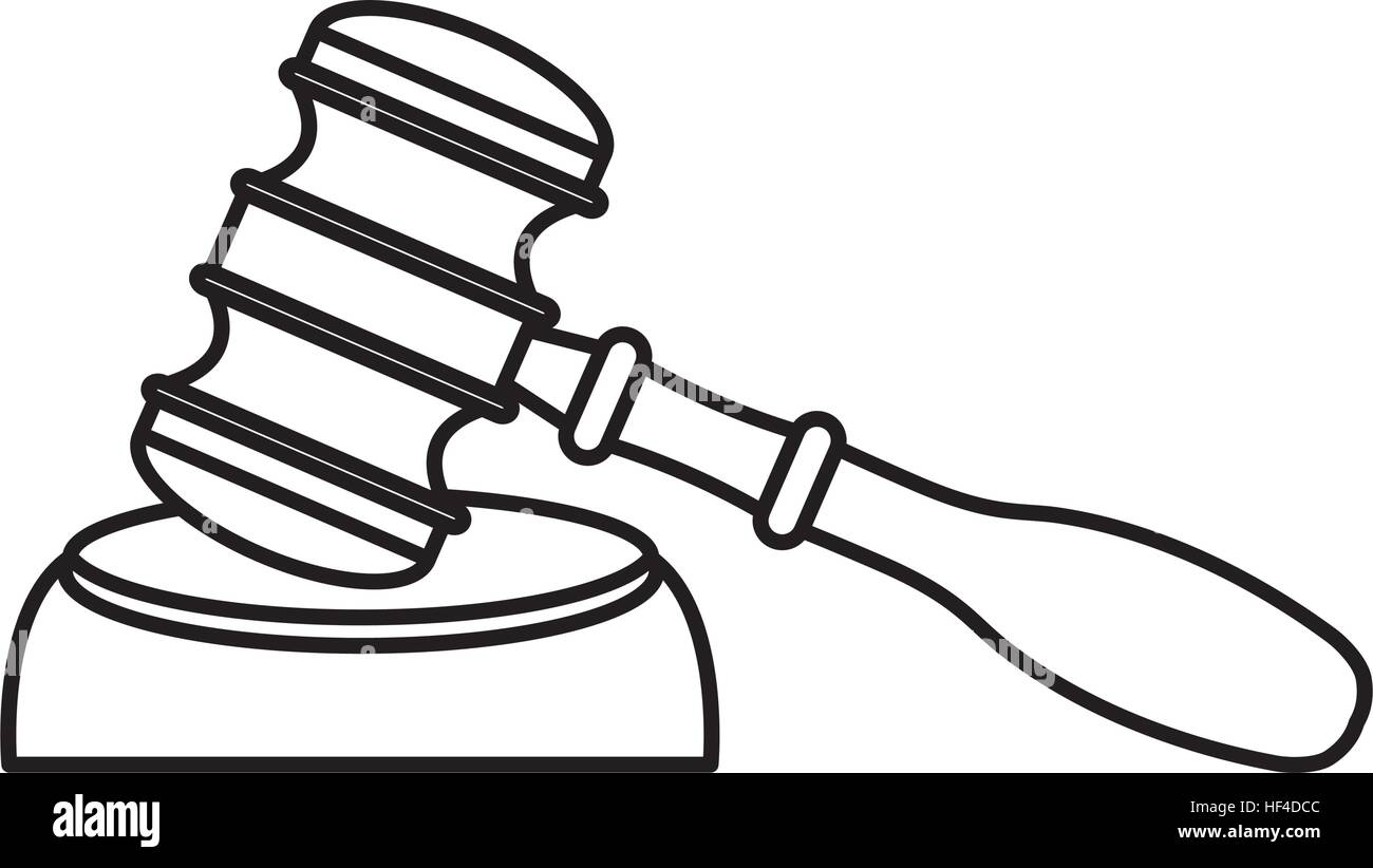Gavel Wooden Isolated Icon Vector Illustration Design Stock Vector
