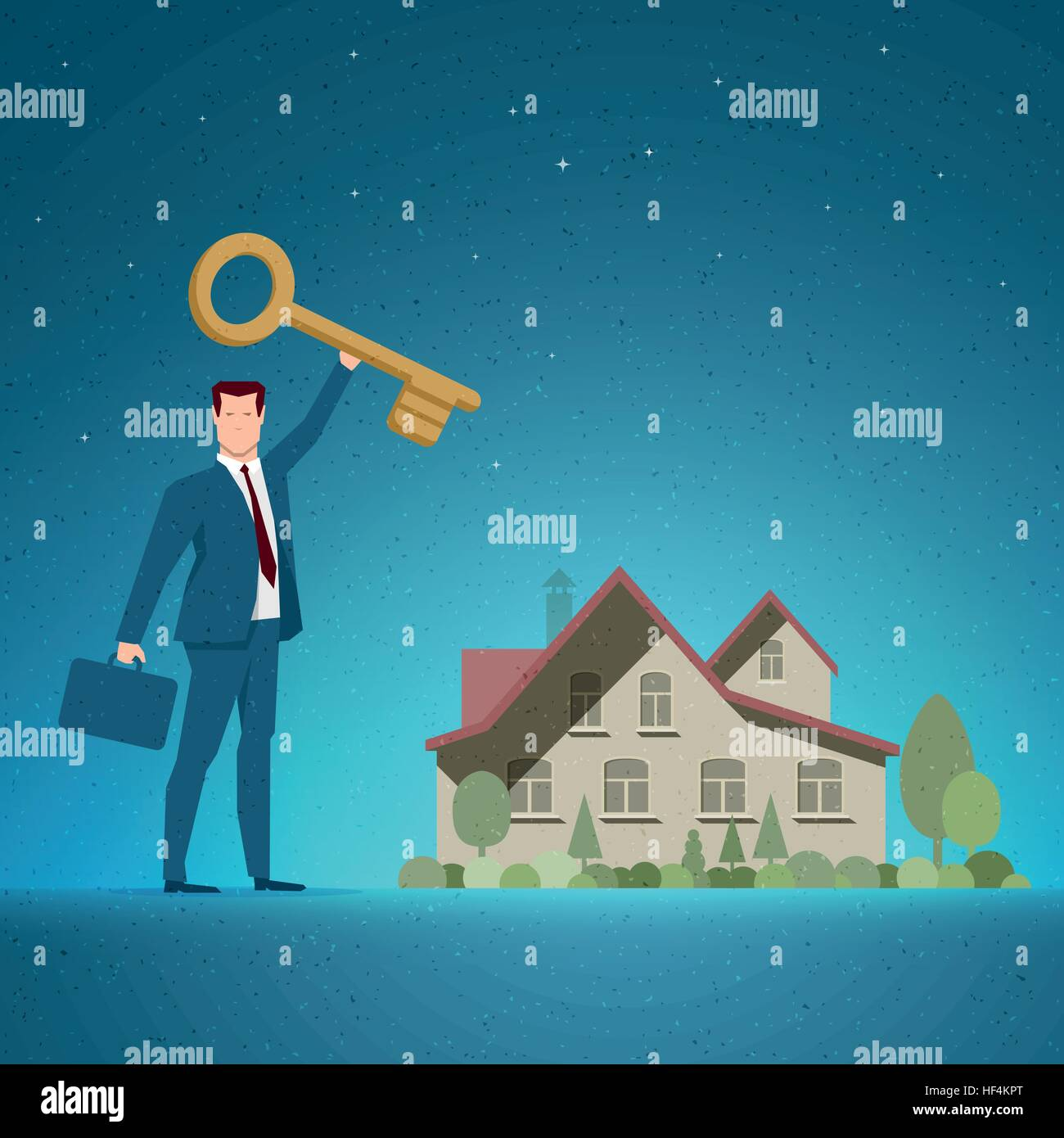 Business concept vector illustration. Investing, real estate, investment opportunity, selling or buying concept. - Stock Image