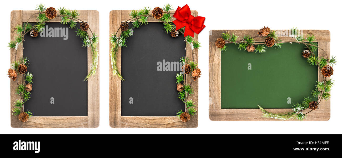 Chalkboard with wooden frame and Christmas decoration isolated on ...