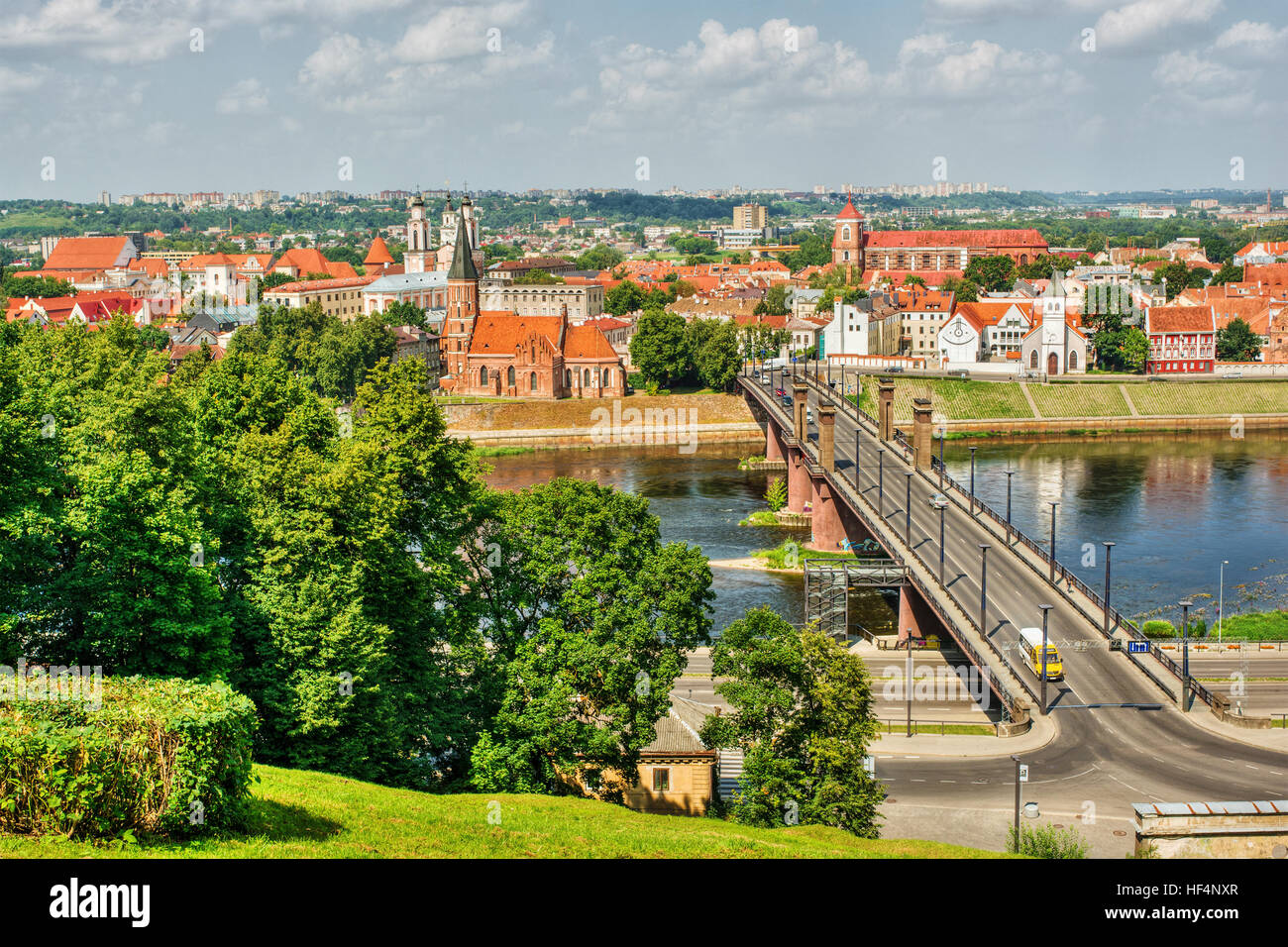 Cityscape of Kaunas (Lithuania), HDR-technique - Stock Image