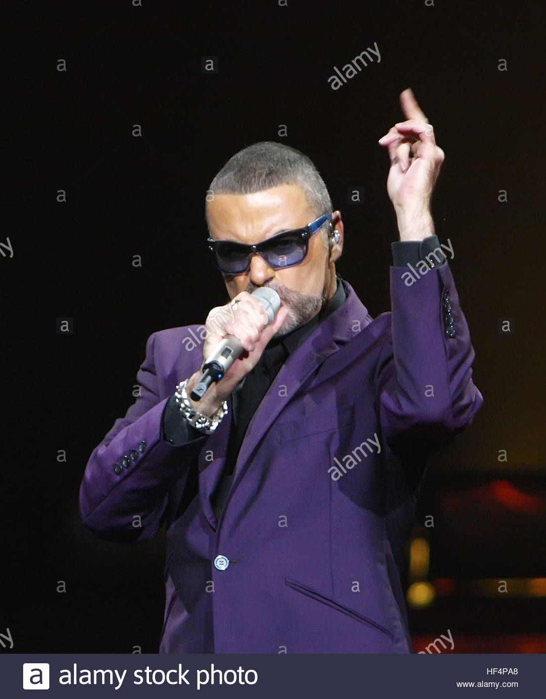 File photo dated 29/09/12 of George Michael in concert at the Royal Albert Hall, London during his Symphonica Tour, - Stock Image