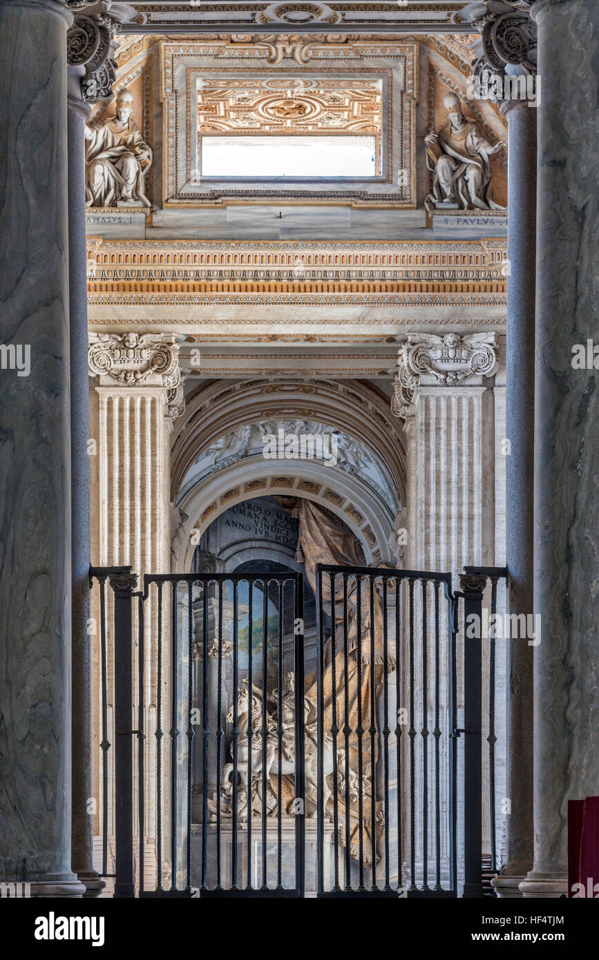 Detail of San Pietro cathedral columns near entrance Rome Italy - Stock Image