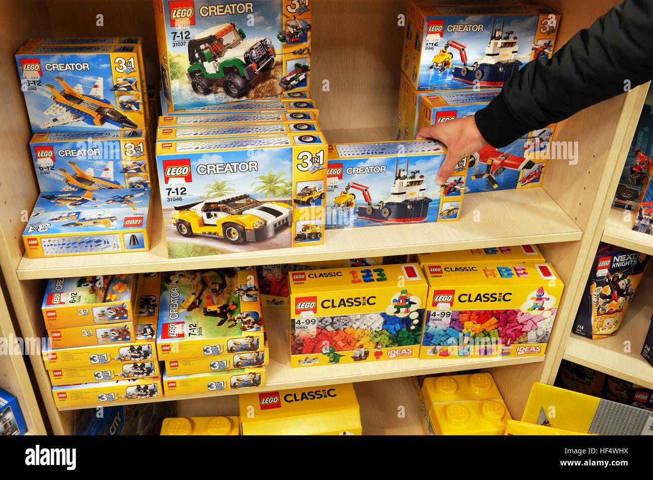 Lego creation and Lego classic boxes - Stock Image