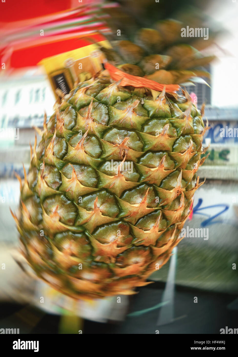 Pineapples at the market, backgrounds, textures - Stock Image