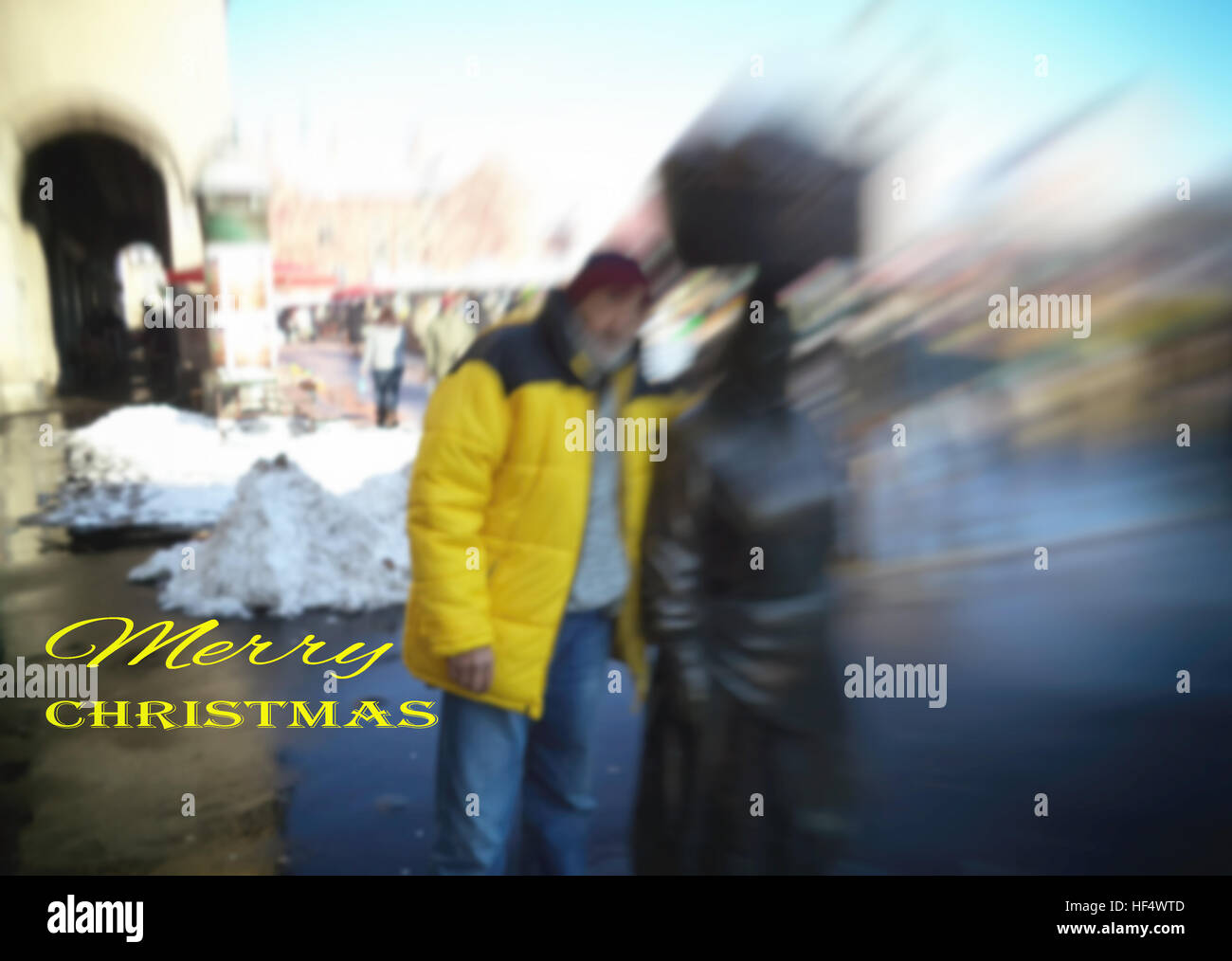 Zagreb, Croatia, market Dolac, the man with the sculpture 'Kumica'. Merry Christmas. Motivation, poster, - Stock Image