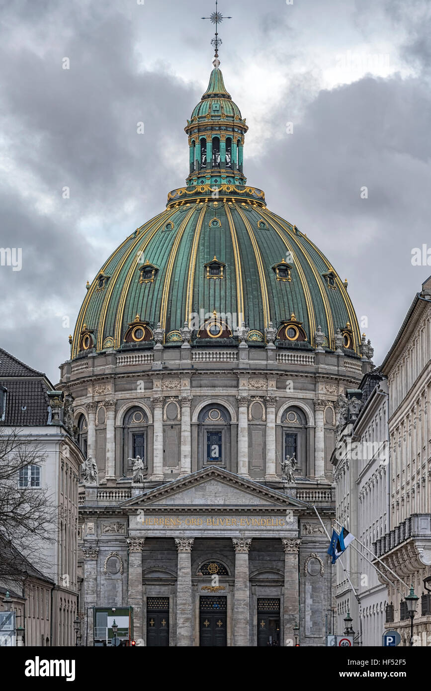 Frederik's Church popularly known as The Marble Church, is an Evangelical Lutheran church in Copenhagen, Denmark. - Stock Image