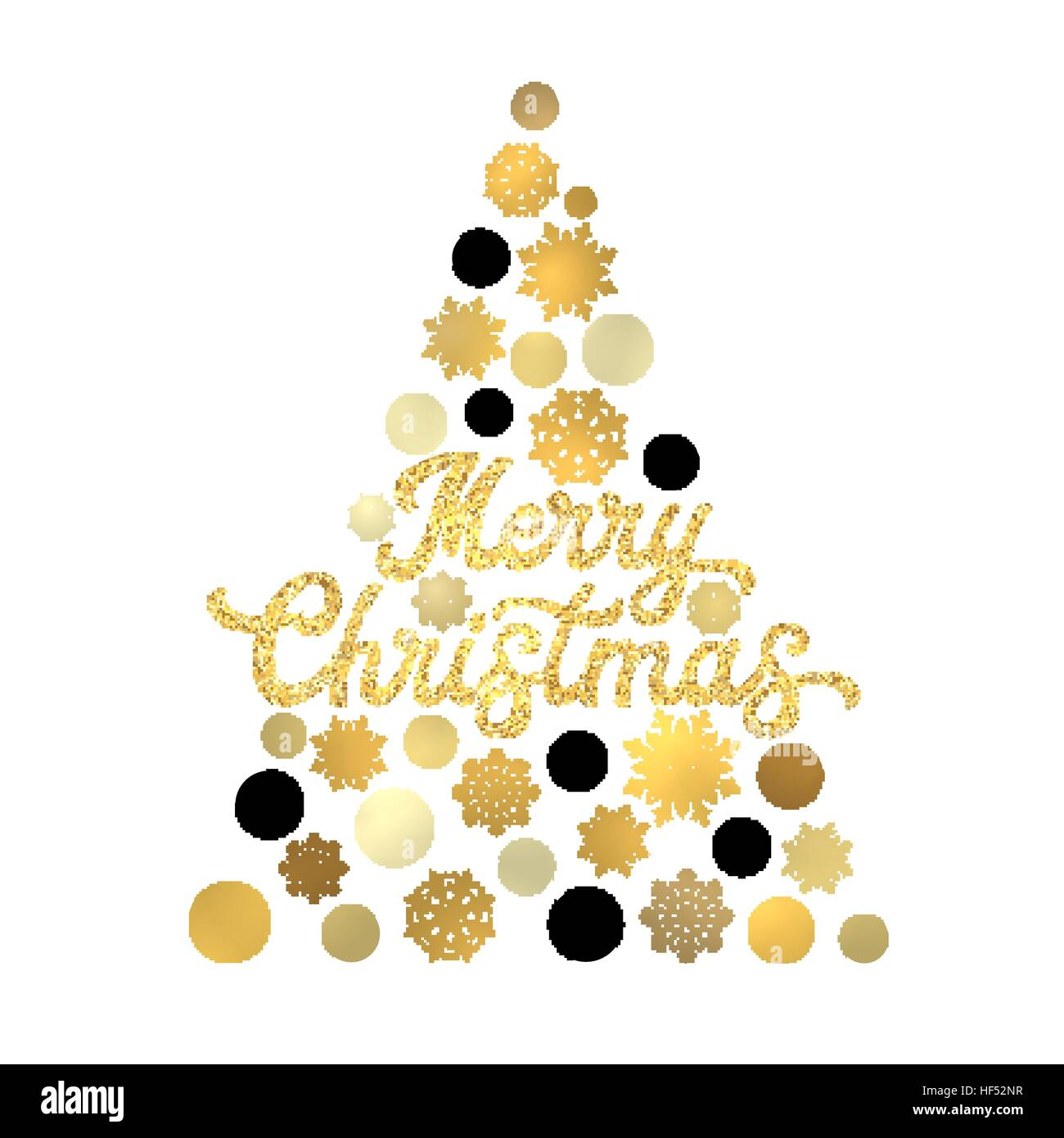 Christmas Tree Isolated On White Background With Gold Glittering Texture Hand Lettering Design Stylish Xmas Card Golden Circles And Snowflakes