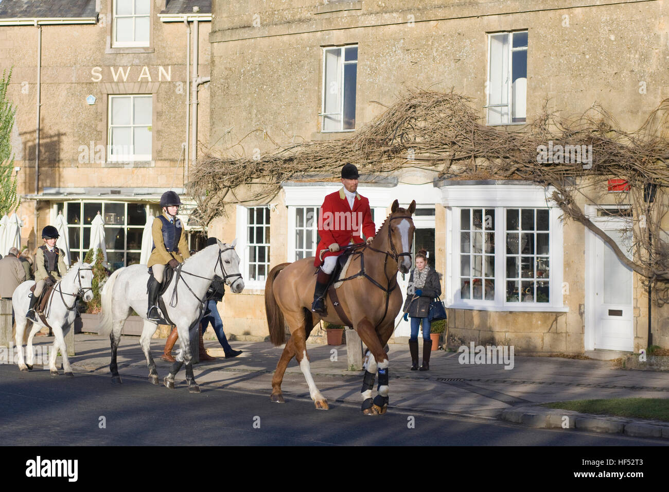 Followers of the North Cotswold Hunt boxing day meet. Broadway - Stock Image