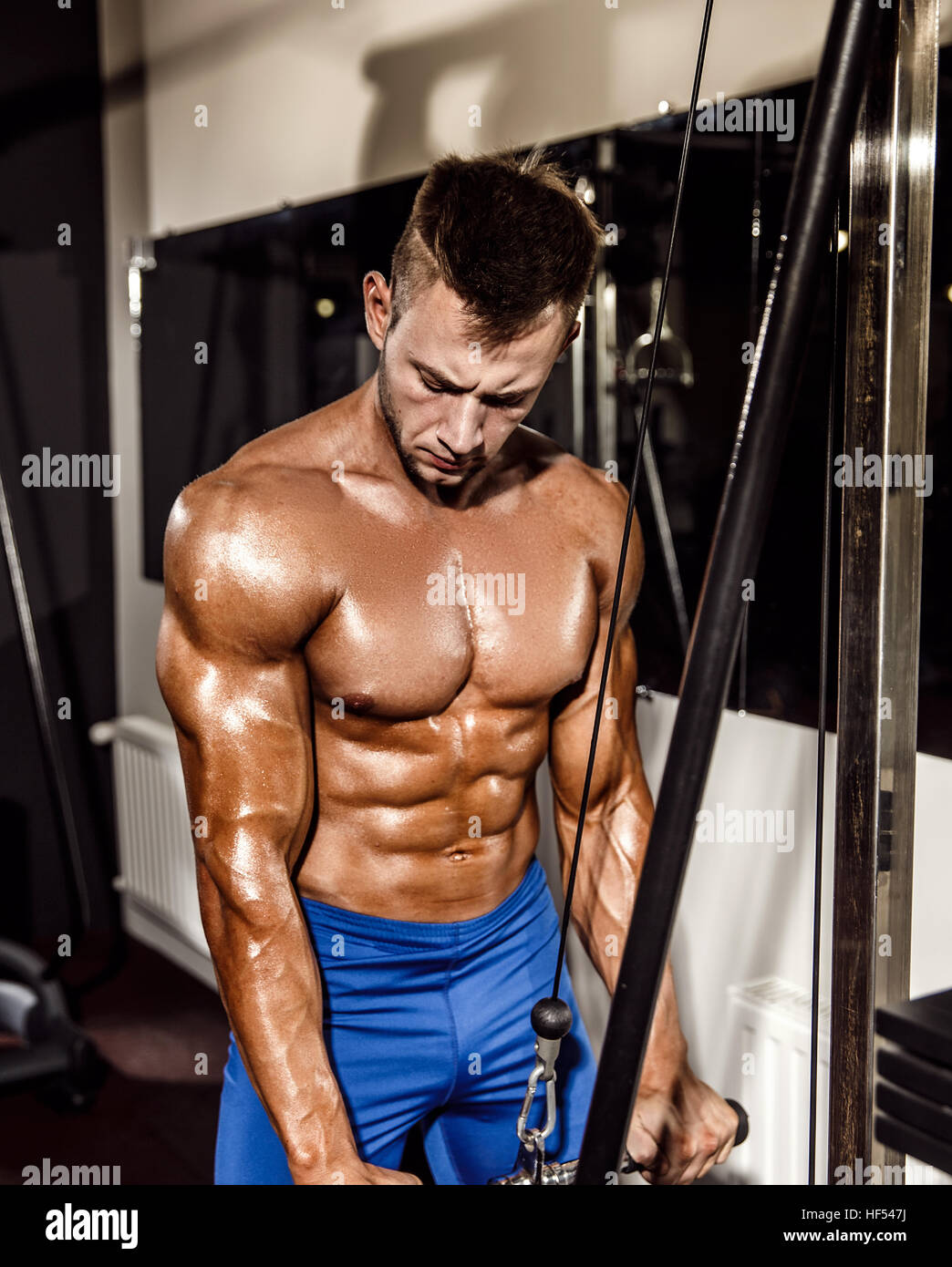 Young Bodybuilder Doing Heavy Weight Exercise For Triceps