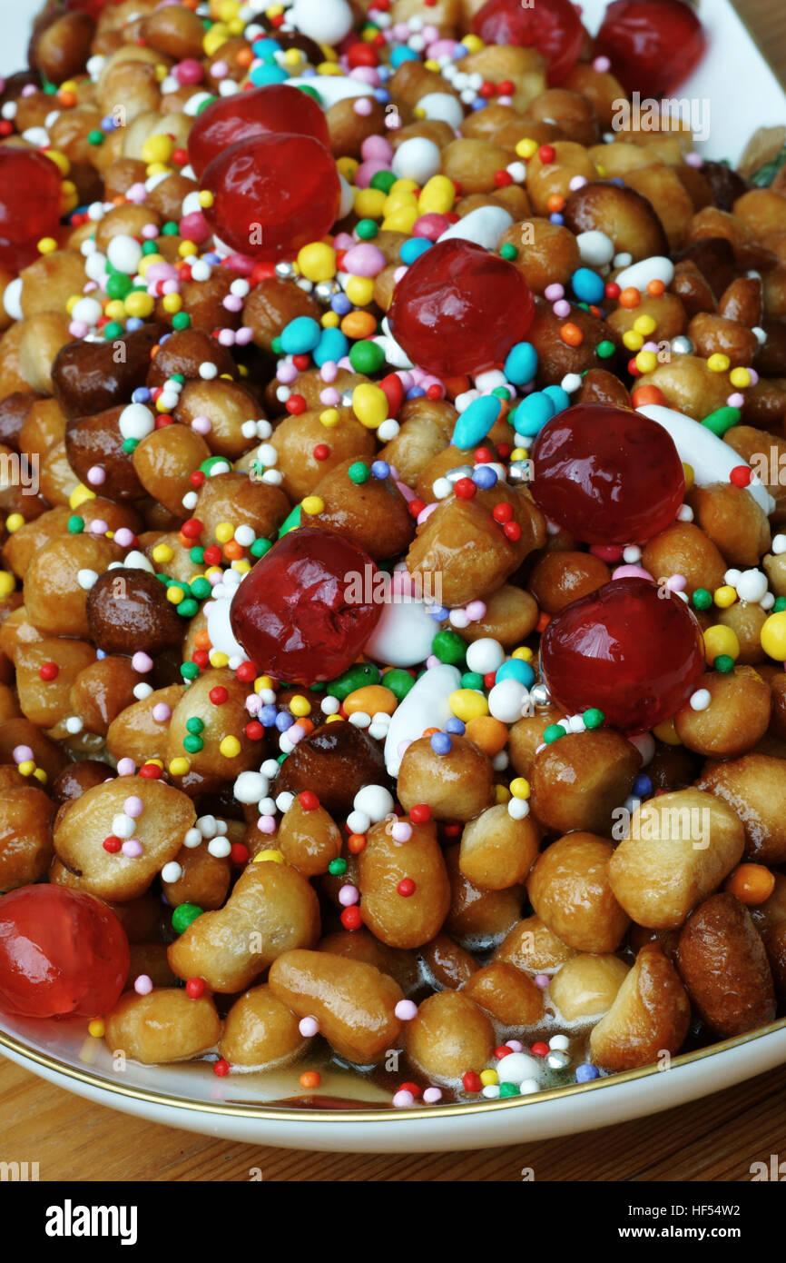 Struffili, neapolitan tipical xmas cake - Stock Image