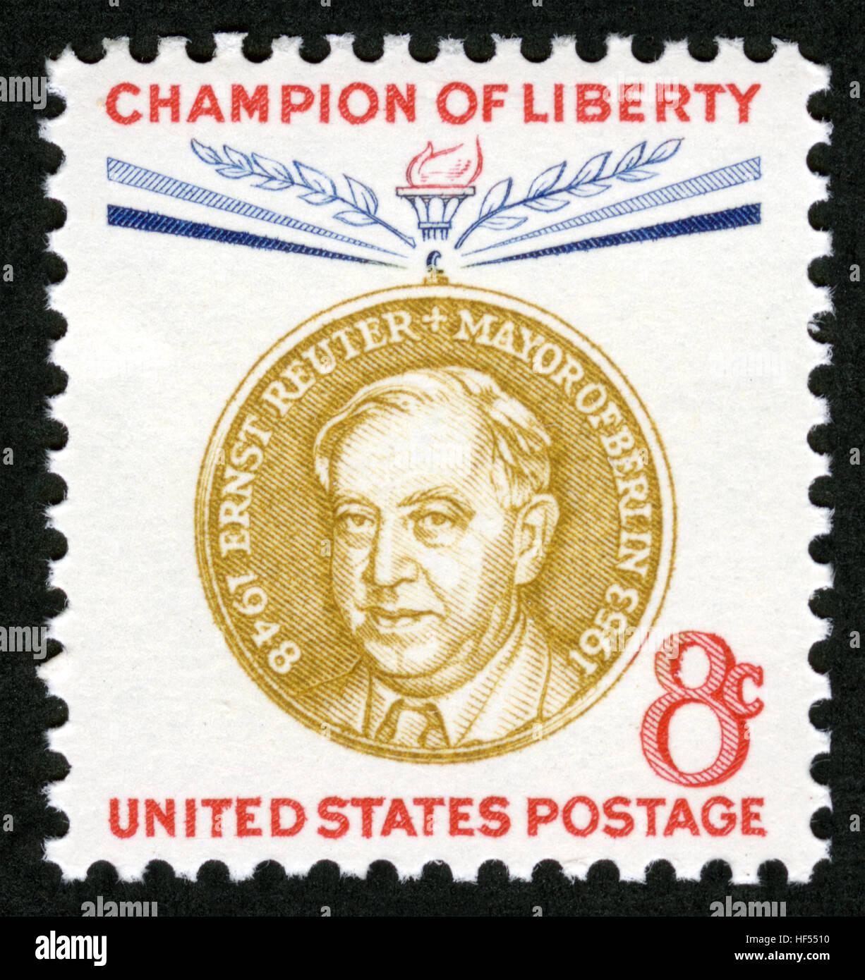 US Postage Stamp Champion Liberty Ernst Reuter Mayor Of Berlin 1948 1953