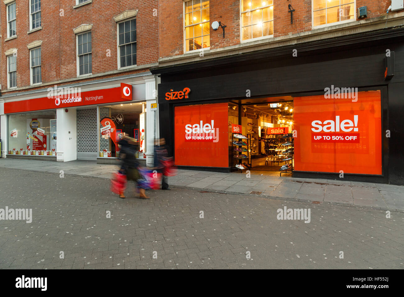 Boxing Day sales shoppers on Clumber Street in Nottingham. In Nottingham, England. On 26th December 2016. - Stock Image