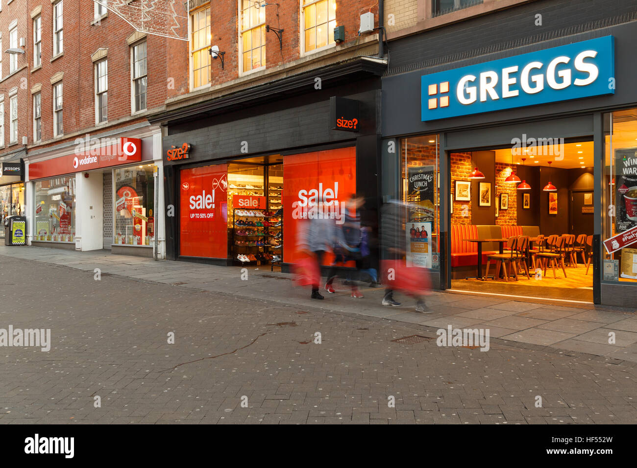 Boxing Day sales on British high street - Clumber Street, Nottingham. In Nottingham, England. On 26th December 2016 - Stock Image