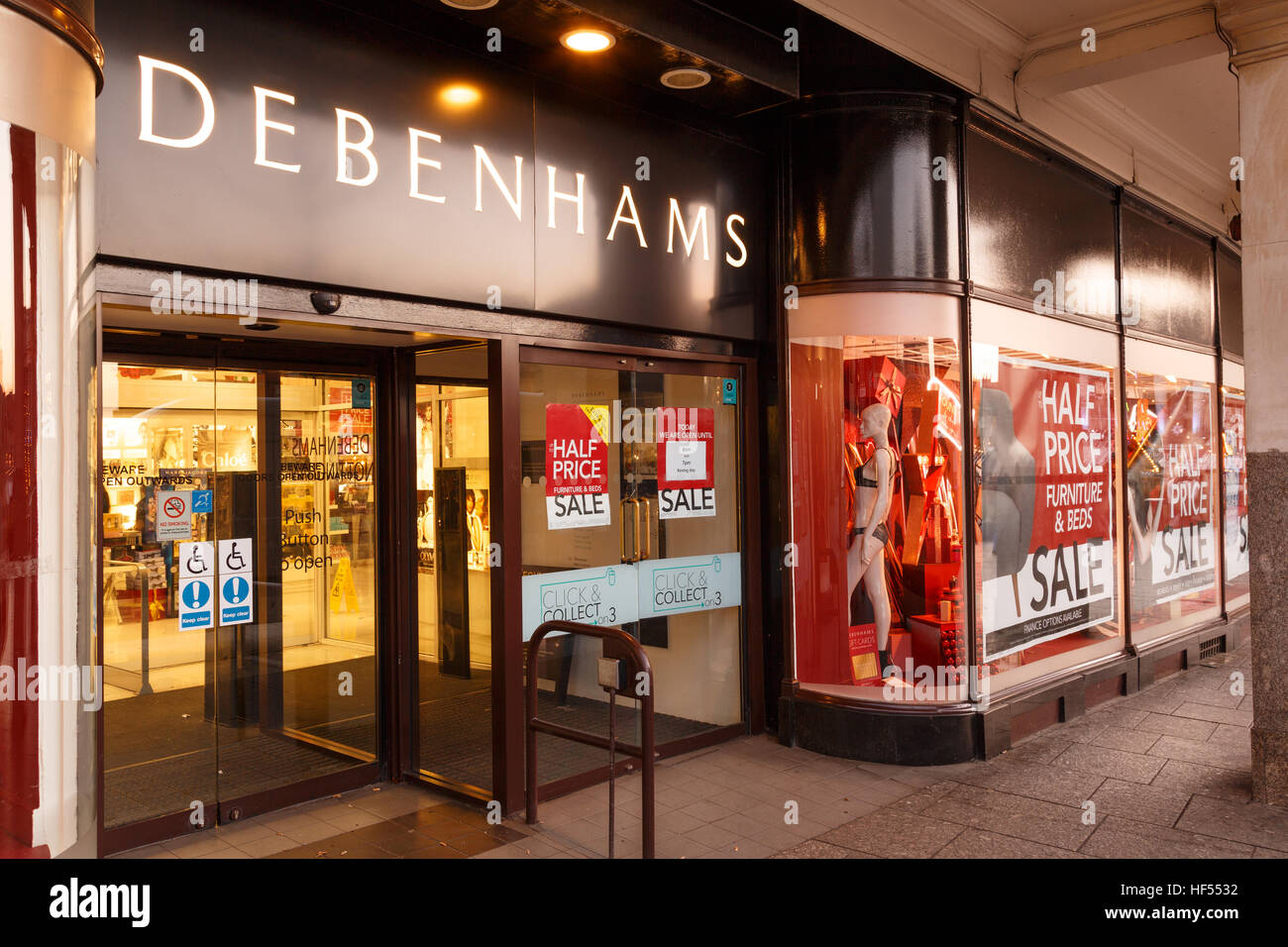 Debenhams Nottingham on Boxing Day sales showing sales posters. In Nottingham, England. On 26th December 2016. - Stock Image
