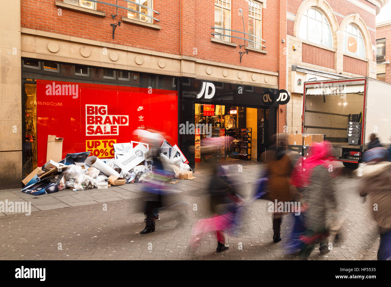Boxing Day sale starts at JD Sports shop in Nottingham. In Nottingham, England. On 26th December 2016. - Stock Image