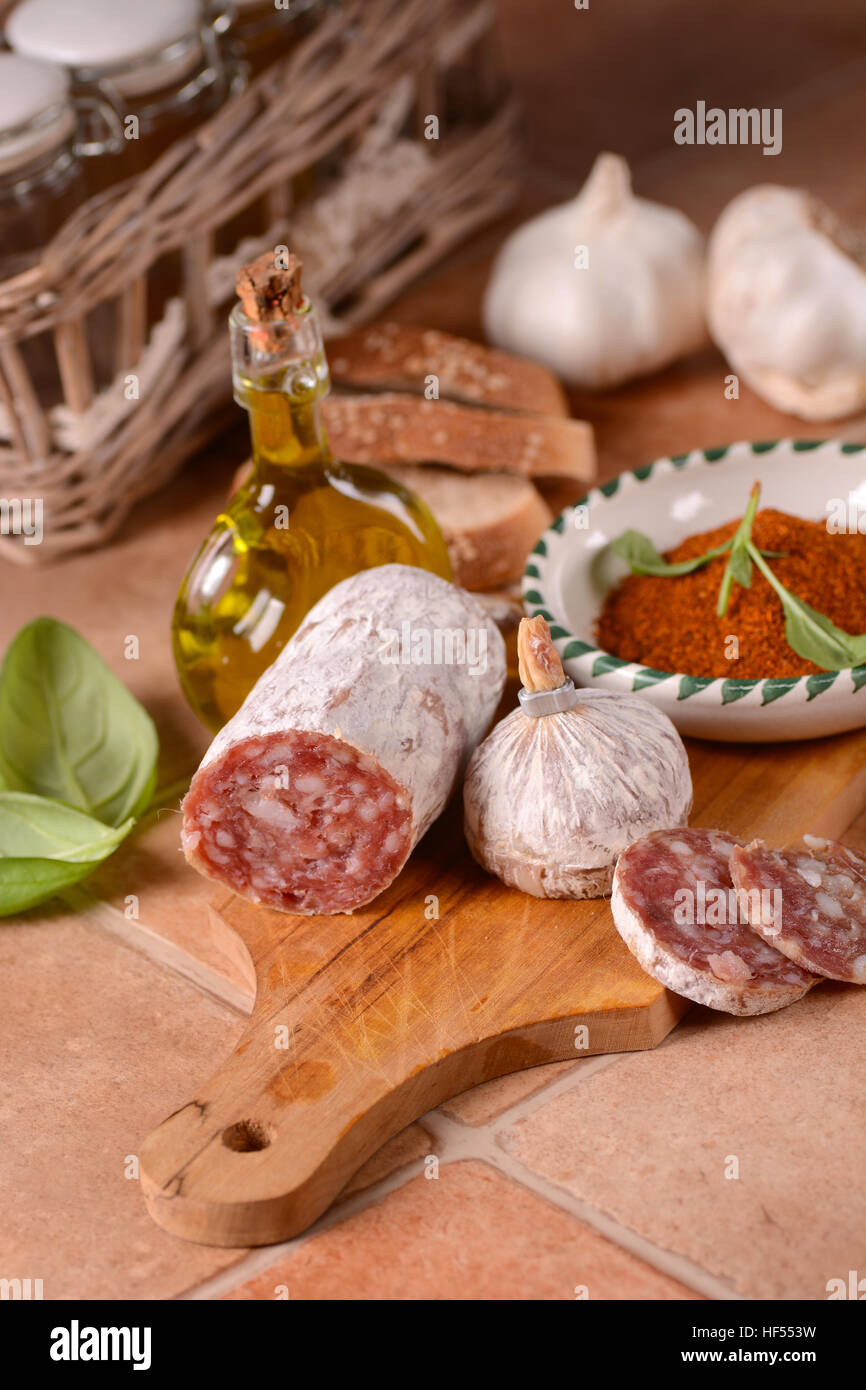 Pure pork salami with chili - traditional Italian food - Stock Image