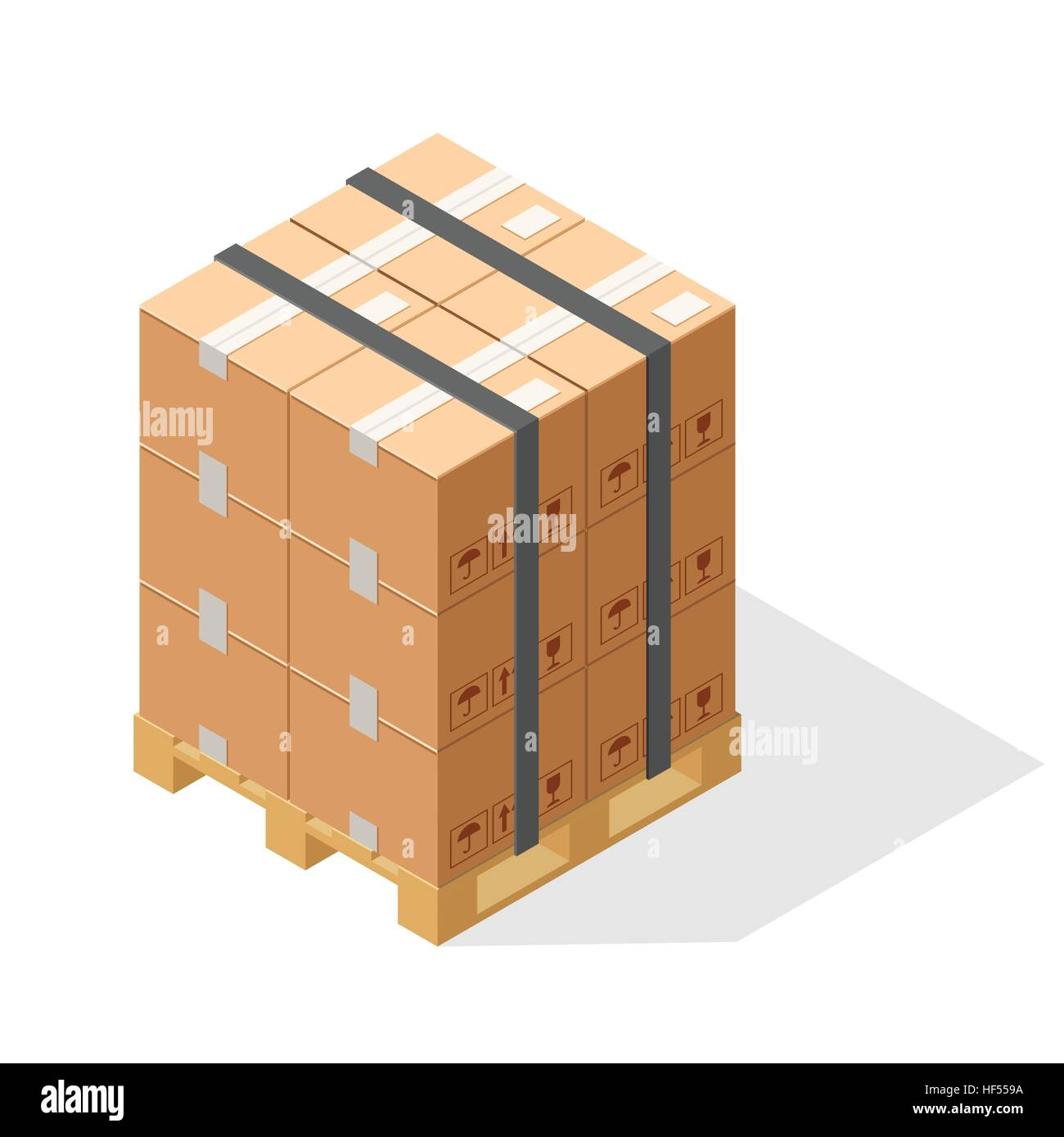 Stack of cartons on wooden pallets. Isometric graphics isolated on white background. - Stock Vector