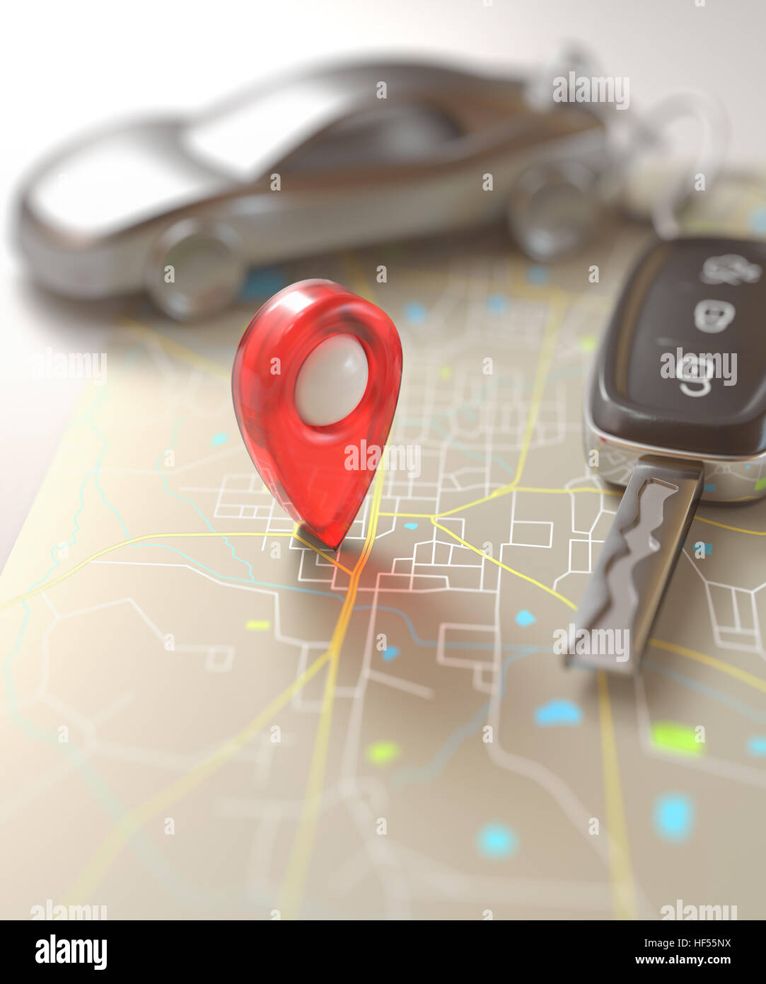Car key on the map with local points of travel. - Stock Image