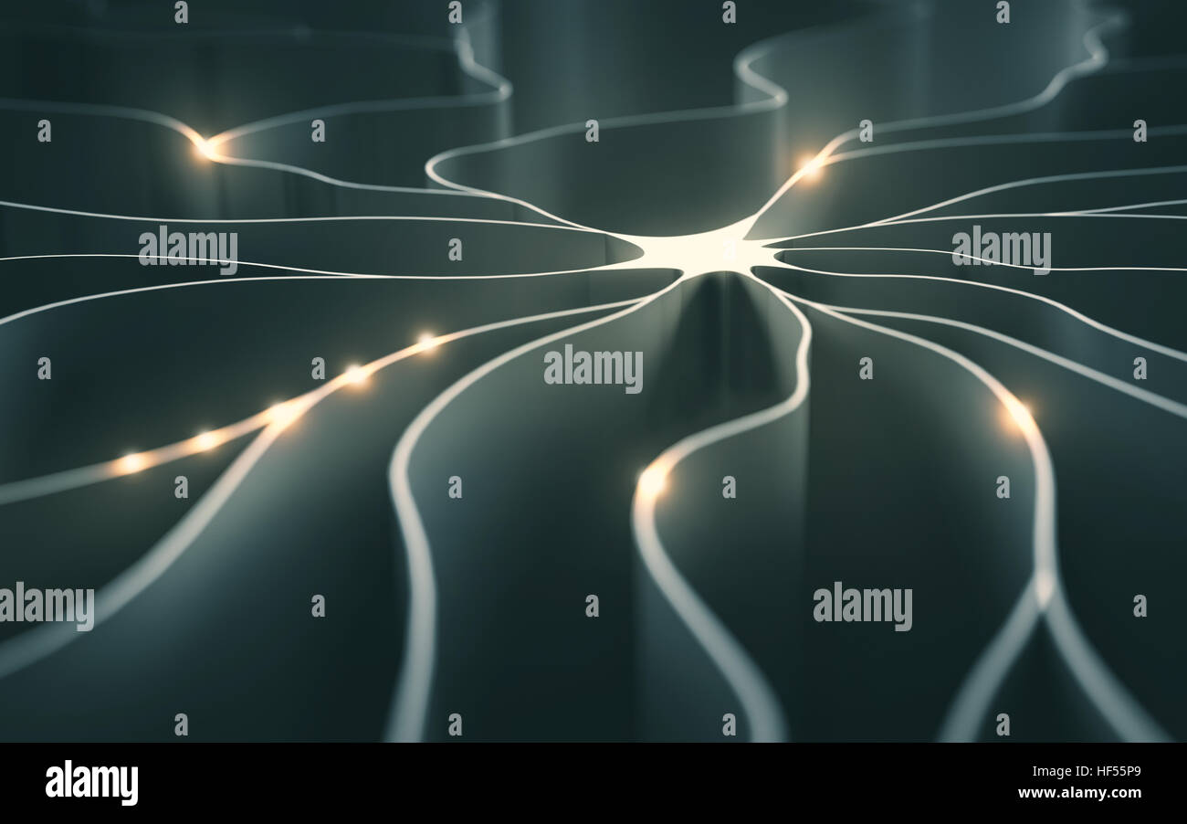 3D illustration, concept of artificial neuron with electrical pulses. - Stock Image