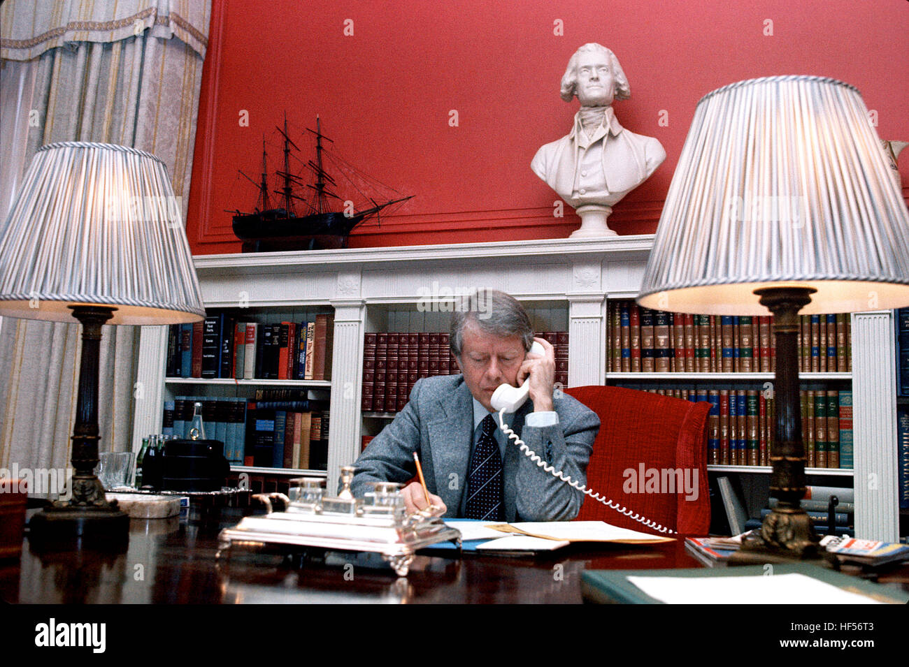 President-elect Jimmy Carter at Blair House in Washington DC, the night before his inauguration January 1977. - Stock Image