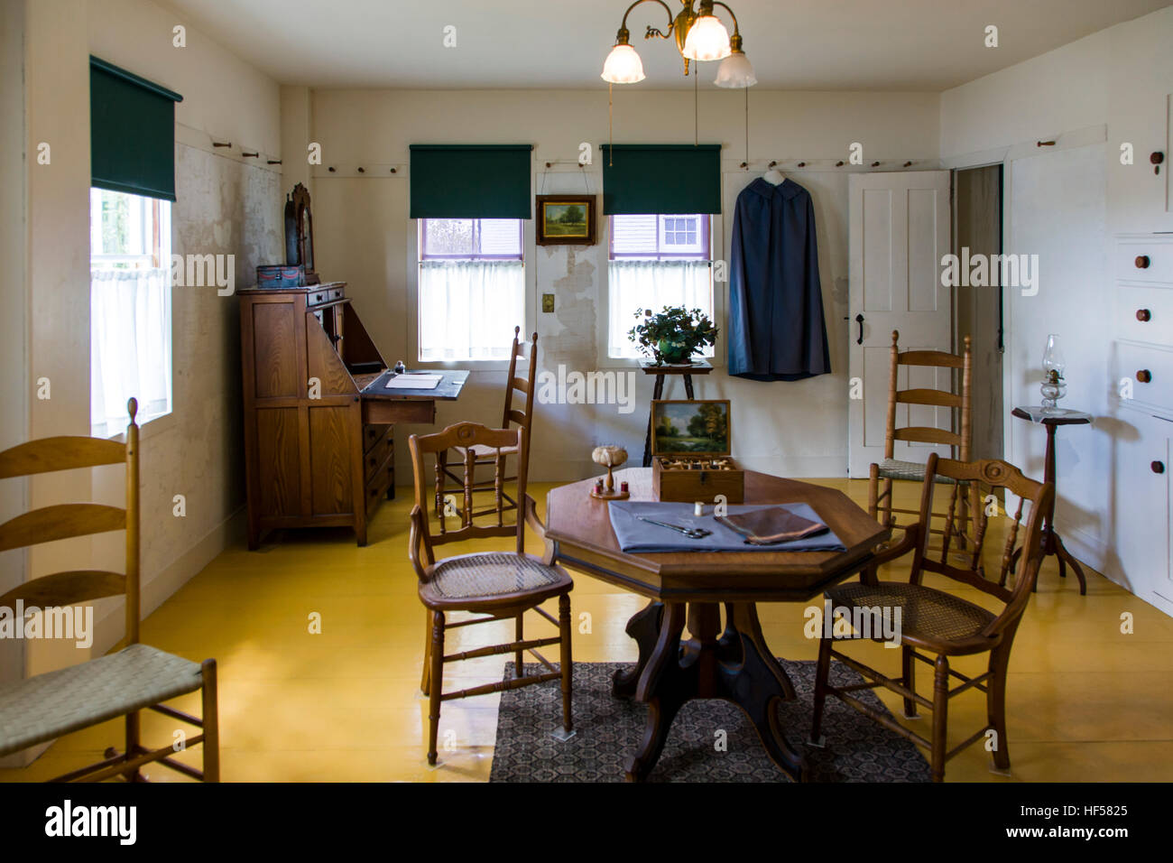 Interior view of sitting room, Canterbury Shaker Village; Canterbury; New Hampshire; USA Stock Photo