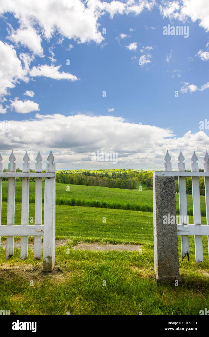 Gate, fence, gardens, countryside, Canterbury Shaker Village; Canterbury; New Hampshire; USA Stock Photo