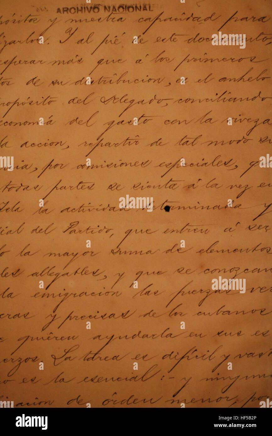 Old letters written by José Martí at a museum on Plaza de la Revolución, Havana, Cuba, Caribbean, - Stock Image
