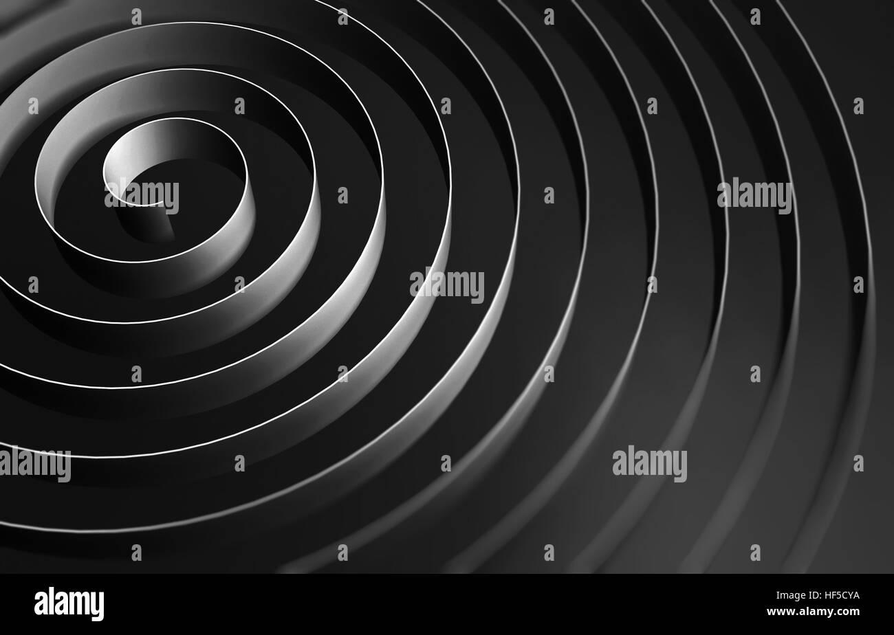 Black round spiral, abstract digital illustration, background pattern. 3d illustration - Stock Image