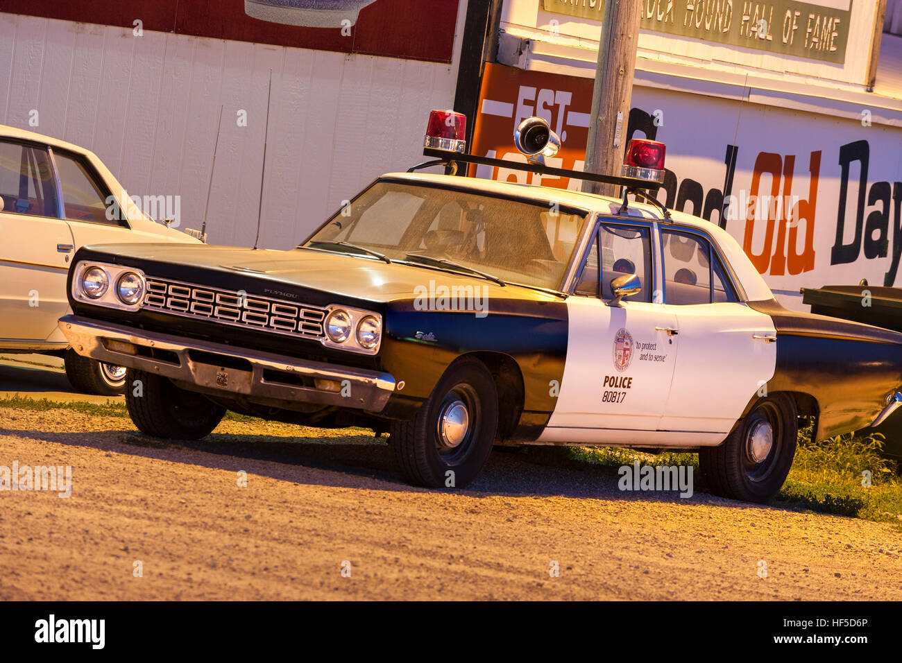 American police car, patrol car, squad car, police cruiser.  Vintage 1968 Plymouth Satellite police package car. Stock Photo