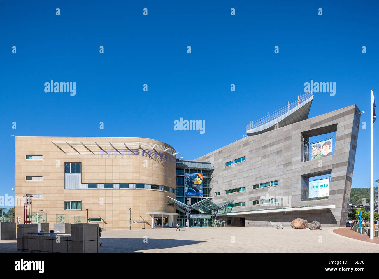 Te Papa Museum Wellington New Zealand. National Museum of New Zealand Te Papa Tongarewa main entrance. - Stock Image