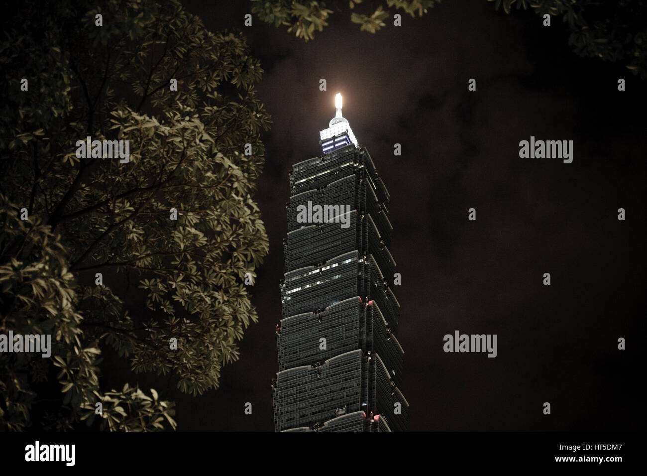 The 101 Tower in Taipei (Taiwan capital, Taipeh), finished in 2004 with 509 meters high, seen at night. - Stock Image
