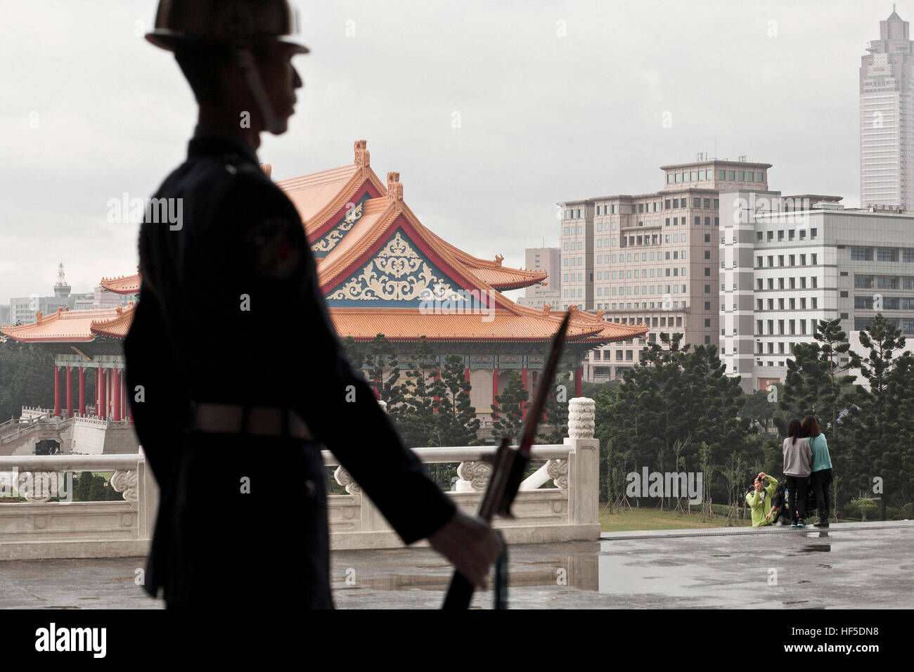 A soldier guards the Mausoleum of the former president general Tchiang Kai Shek in Taipei, Taiwan capital. - Stock Image