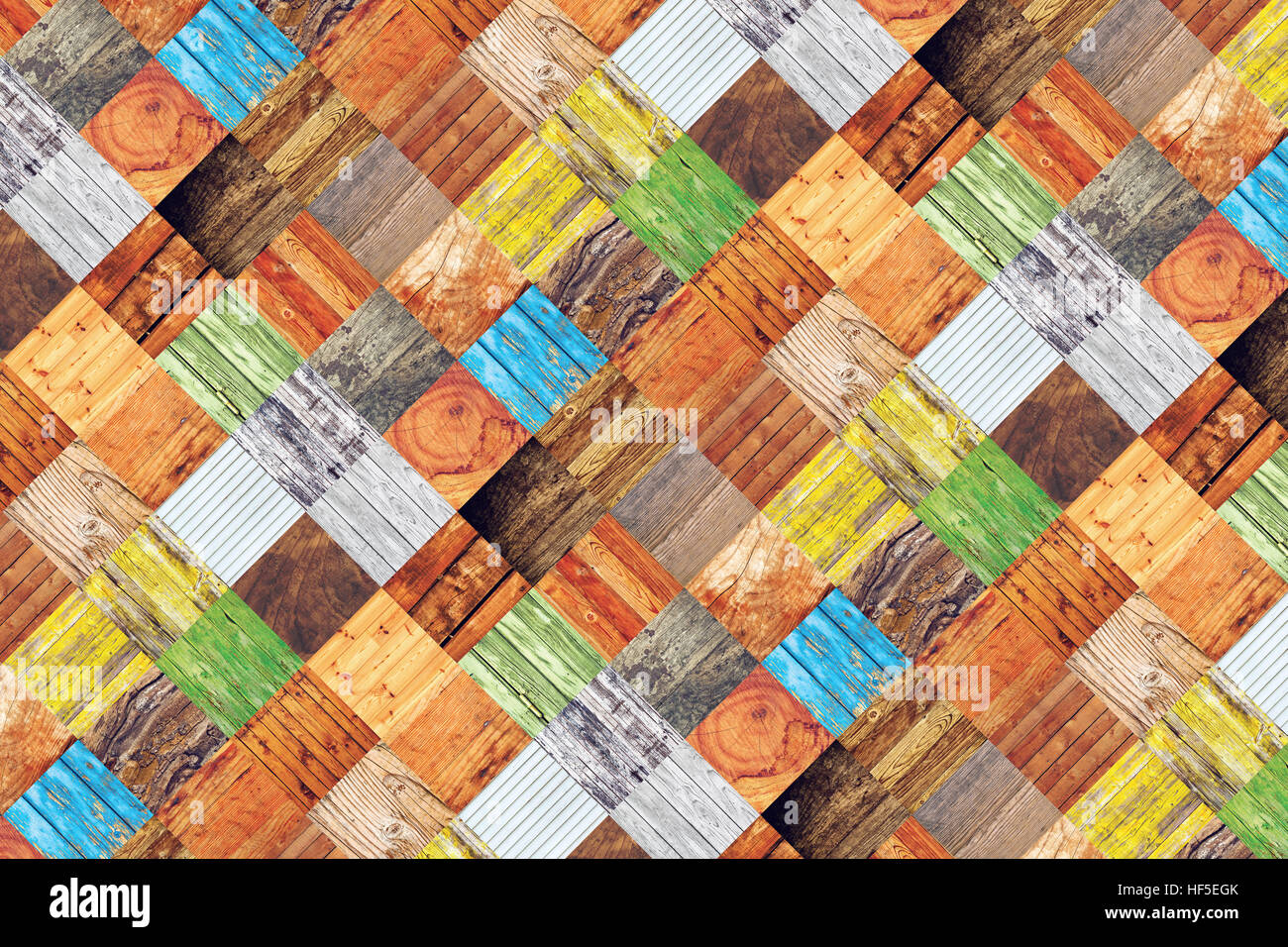Collage of different wood texture samples in square format - Stock Image