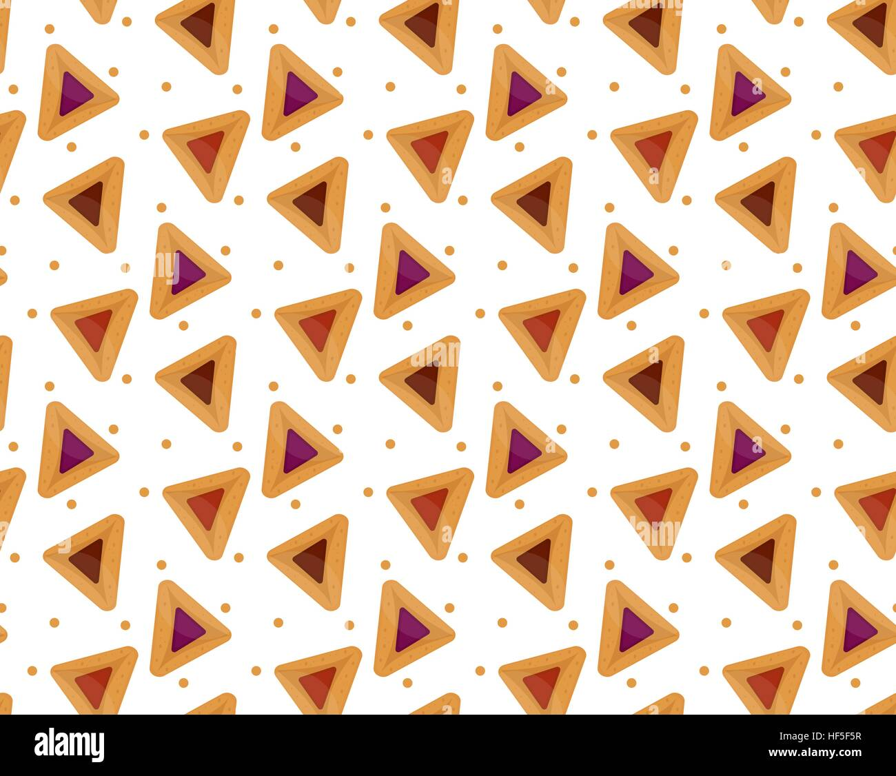 Purim hamantaschen seamless pattern. Jewish traditional dish on the holiday of . endless background, texture, wallpaper. - Stock Image