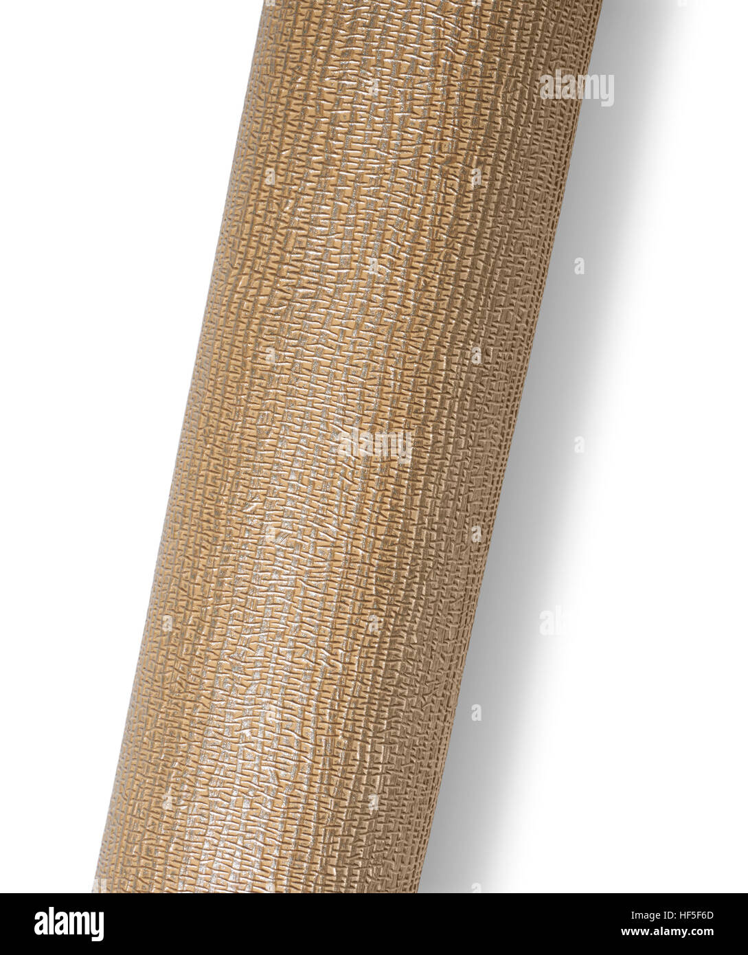 rolled brown textured surface isolated on white with shadow - Stock Image