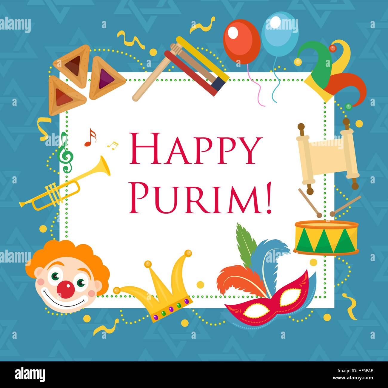 Happy Purim Template Greeting Card Poster Flyer Frame For Text