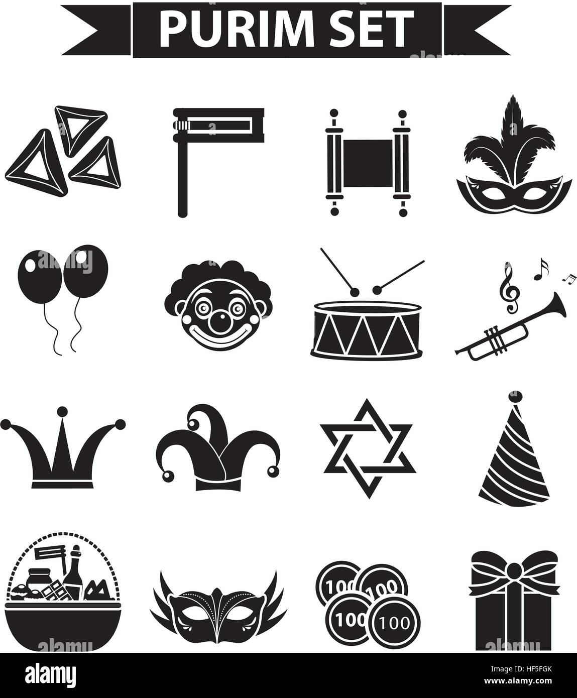 Happy Purim Carnival Icons Set Black Silhouette Style Jewish Stock