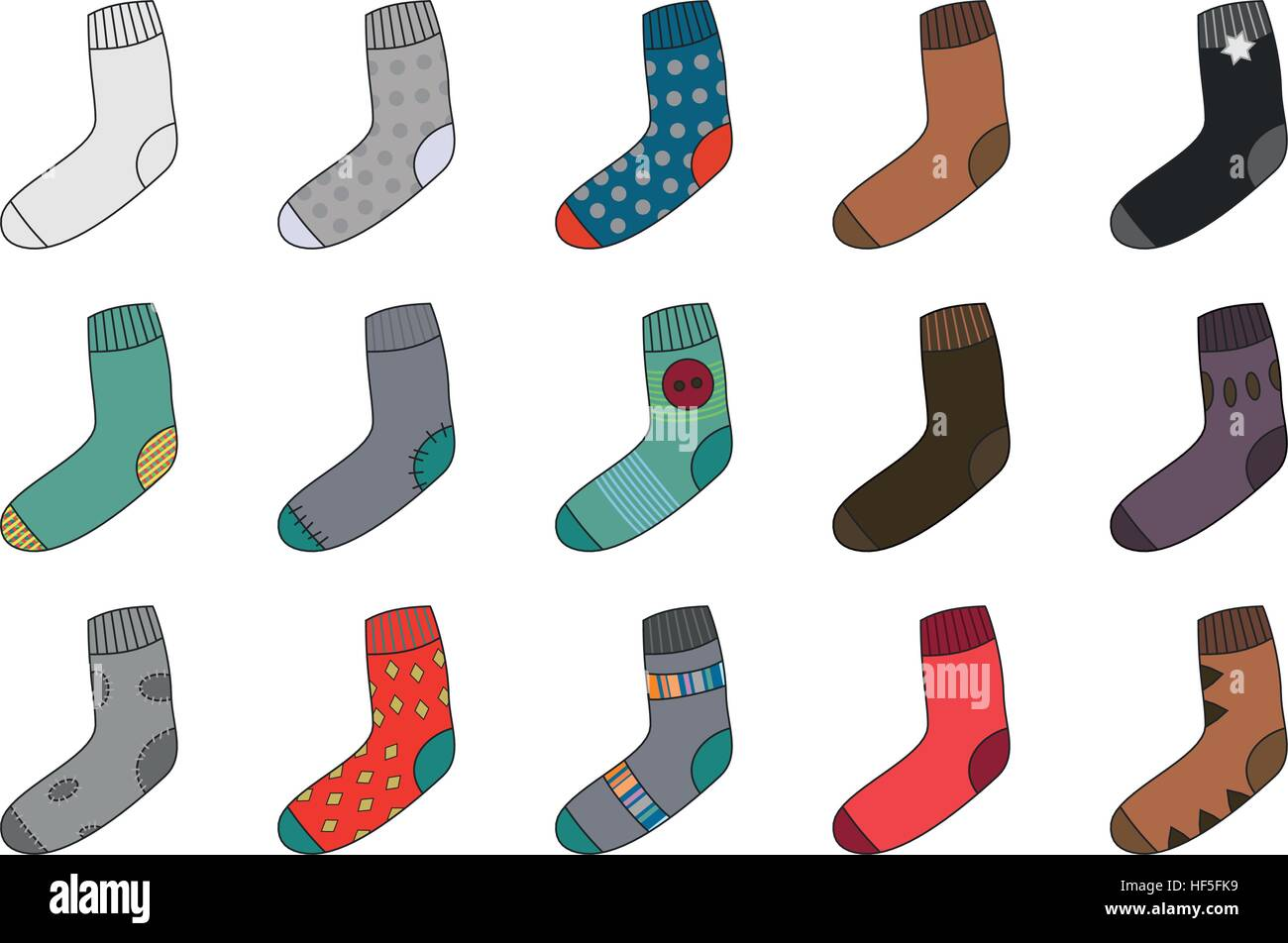 Many colorful wool socks. - Stock Vector
