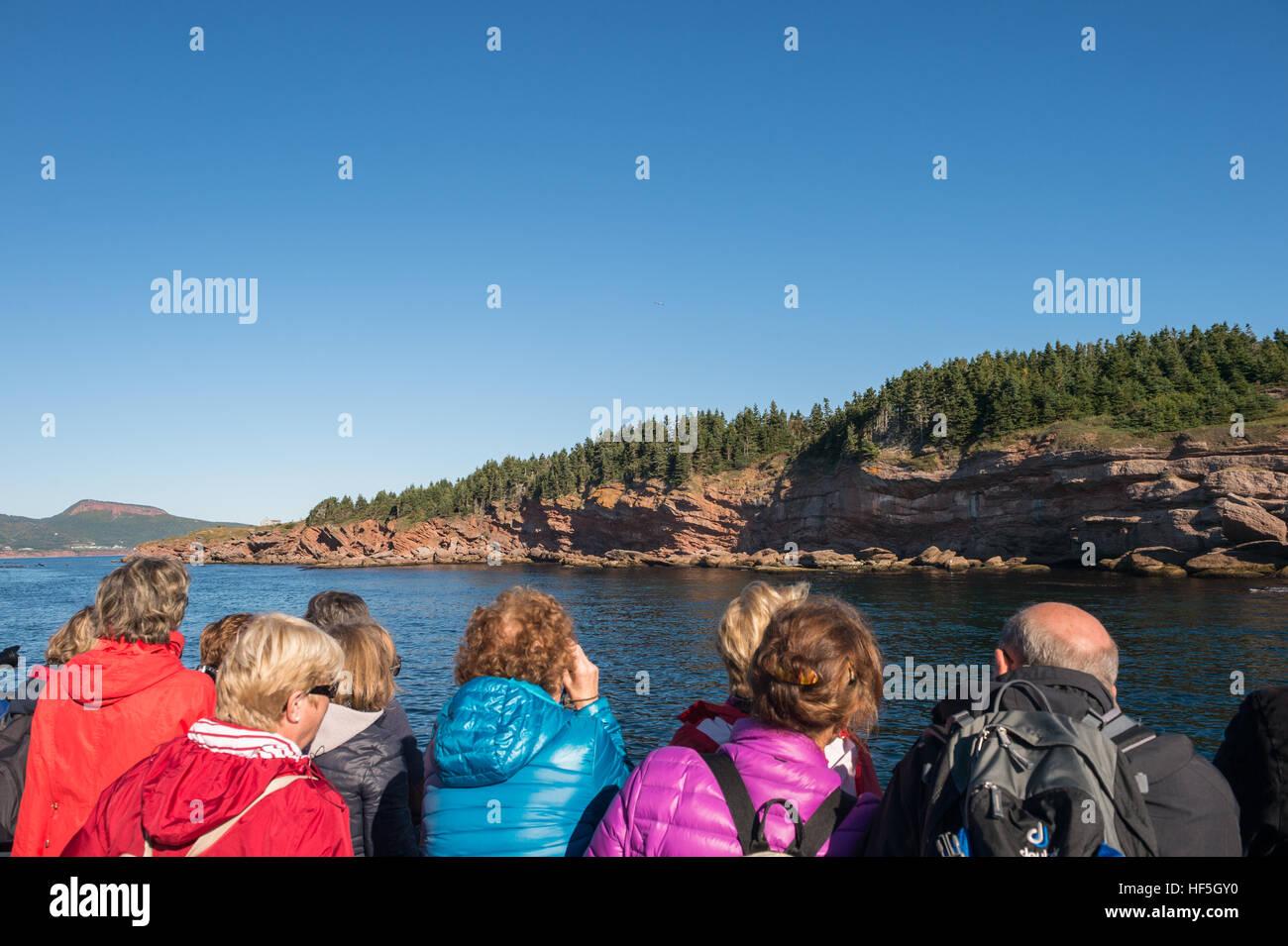 Tourists on a boat arriving on Bonaventure Island, Gaspe Peninsula, Quebec, - Stock Image