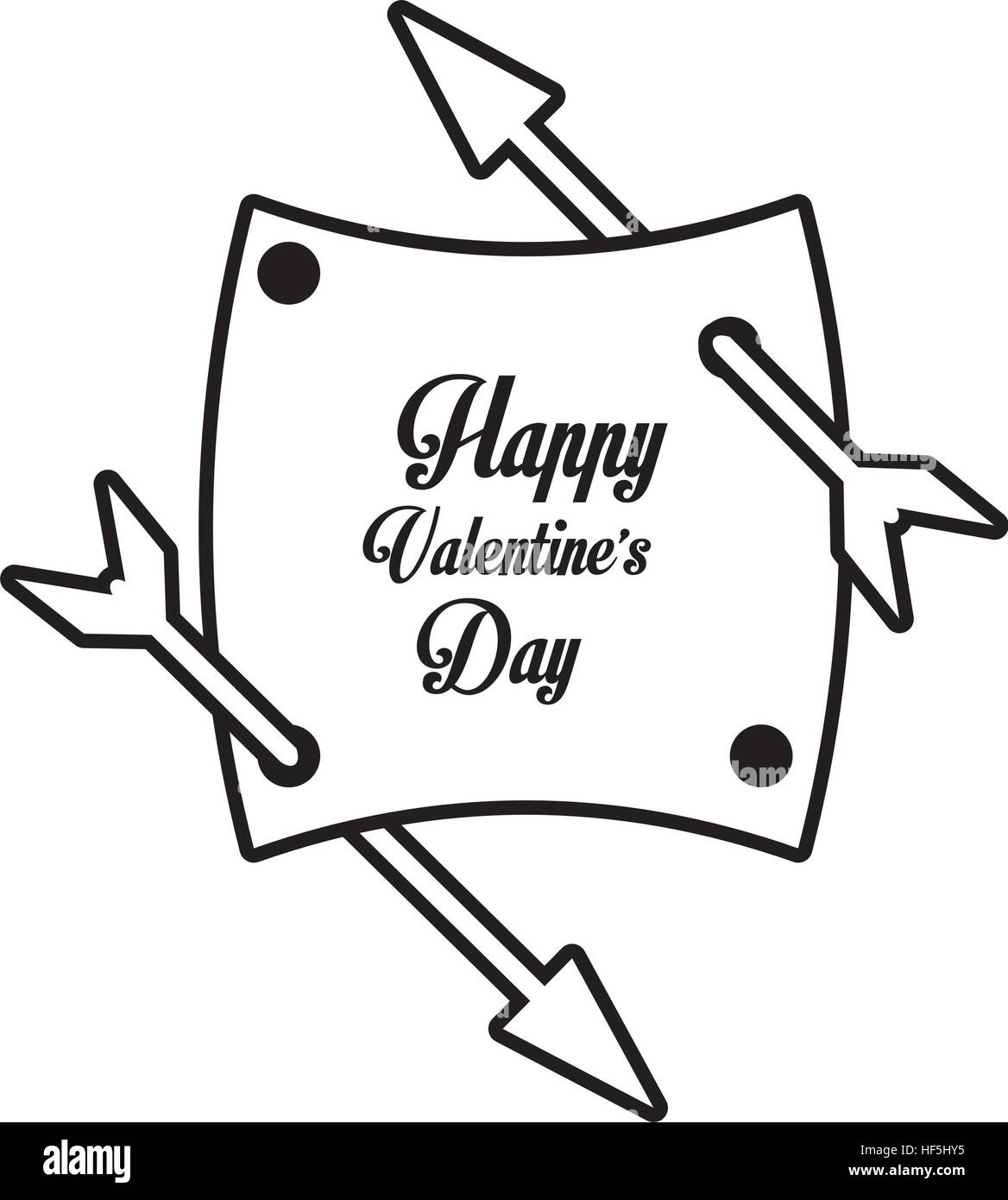 Happy Valentines Day Card Arrows With Banner Outline Vector Stock