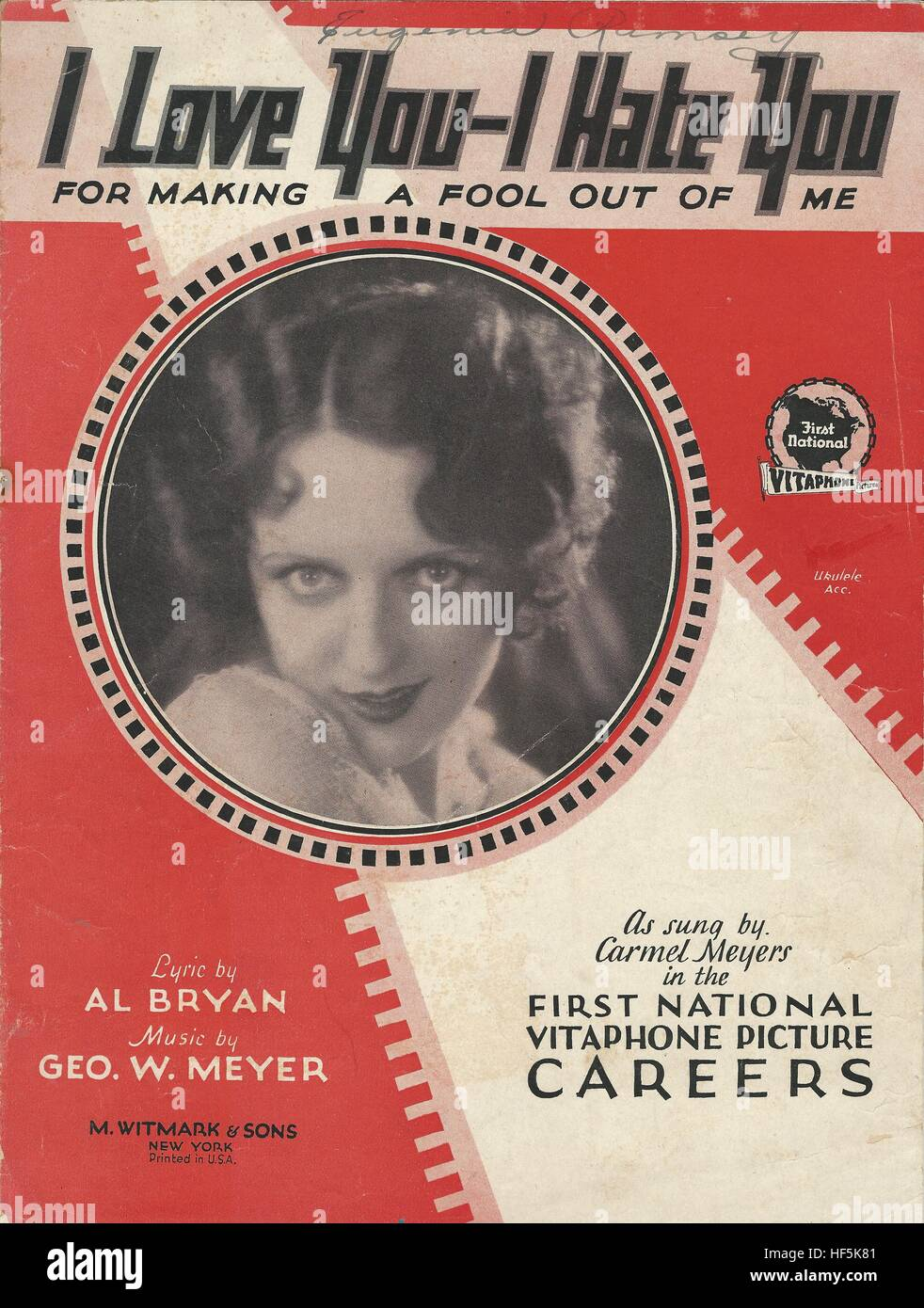 'I Love You—I Hate You' from 1929 movie 'Careers' Sheet Music Cover - Stock Image