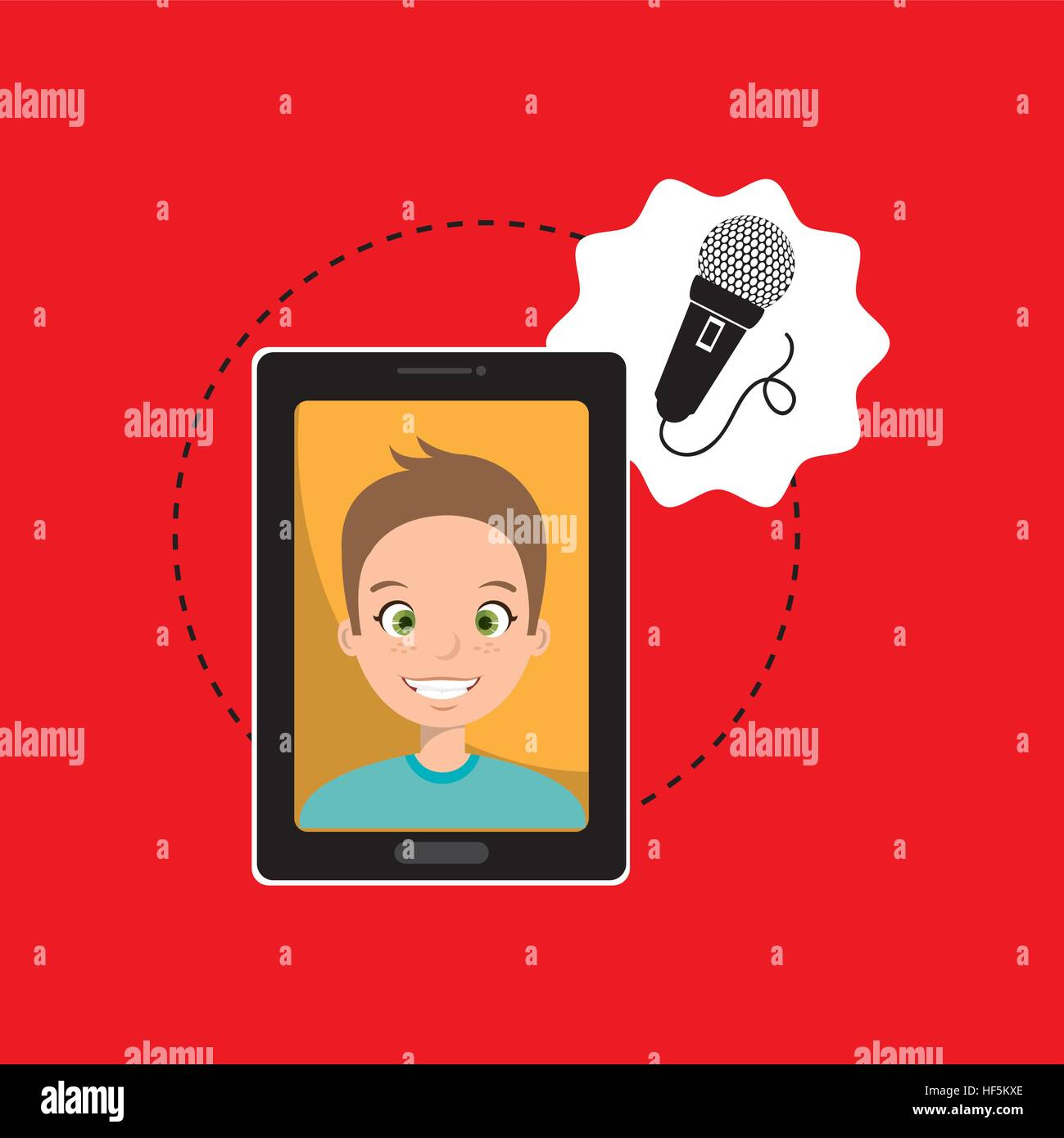 man cartoon smartphone microphone red background vector illustration eps 10 Stock Vector